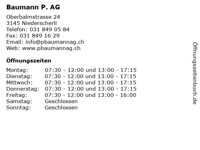 Baumann P. AG in Niederscherli: Adresse und Öffnungszeiten
