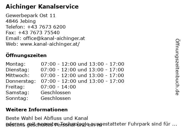 Aichinger Kanalservice GmbH in Niederthalheim: Adresse und Öffnungszeiten