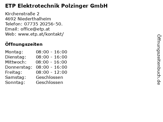 ETP Elektrotechnik Polzinger GmbH in Niederthalheim: Adresse und Öffnungszeiten
