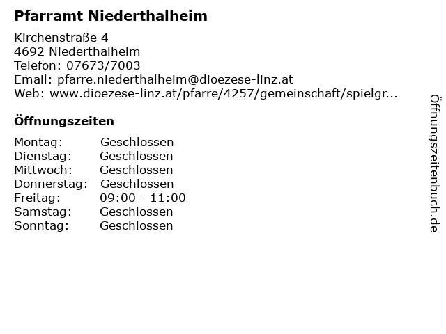 Pfarramt Niederthalheim in Niederthalheim: Adresse und Öffnungszeiten