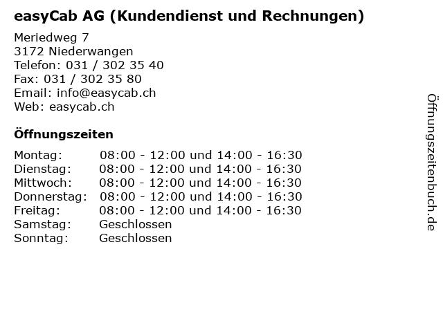 easyCab AG (Kundendienst und Rechnungen) in Niederwangen: Adresse und Öffnungszeiten