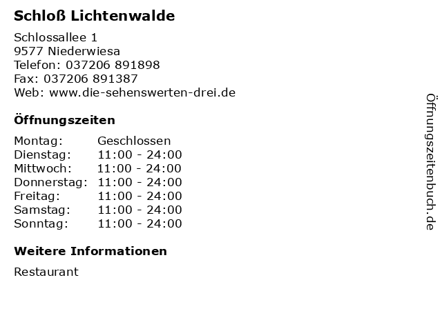 Schloß Lichtenwalde in Niederwiesa: Adresse und Öffnungszeiten