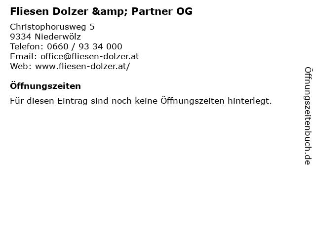 Fliesen Dolzer & Partner OG in Niederwölz: Adresse und Öffnungszeiten