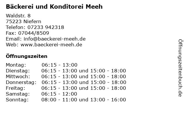 ᐅ Offnungszeiten Backerei Und Konditorei Meeh Waldstr 8 In Niefern