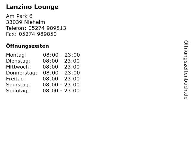 Lanzino Lounge in Nieheim: Adresse und Öffnungszeiten