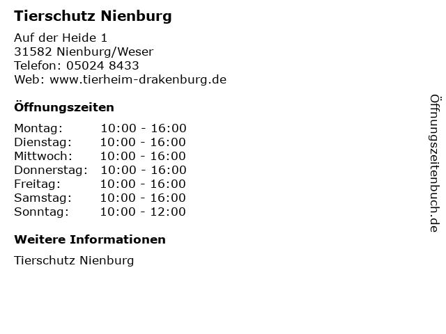 Tierschutz Nienburg in Nienburg/Weser: Adresse und Öffnungszeiten