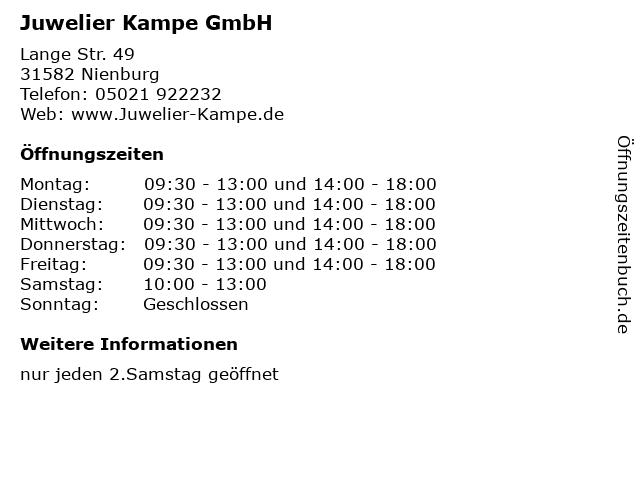 Juwelier Kampe GmbH in Nienburg: Adresse und Öffnungszeiten
