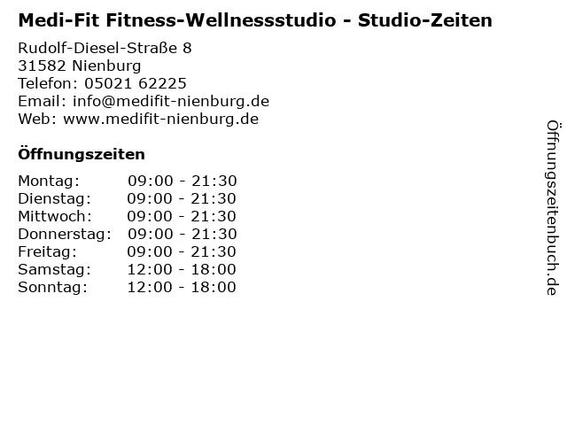 Medi-Fit Fitness-Wellnessstudio - Studio-Zeiten in Nienburg: Adresse und Öffnungszeiten