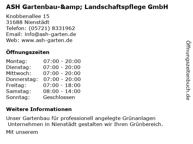 ASH GmbH Garten & Landschaftspflege in Nienstädt: Adresse und Öffnungszeiten