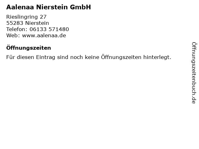 Aalenaa Nierstein GmbH in Nierstein: Adresse und Öffnungszeiten