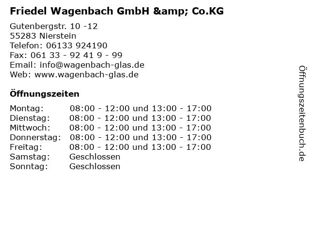 Friedel Wagenbach GmbH & Co.KG in Nierstein: Adresse und Öffnungszeiten