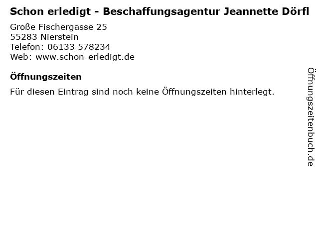 Schon erledigt - Beschaffungsagentur Jeannette Dörfl in Nierstein: Adresse und Öffnungszeiten