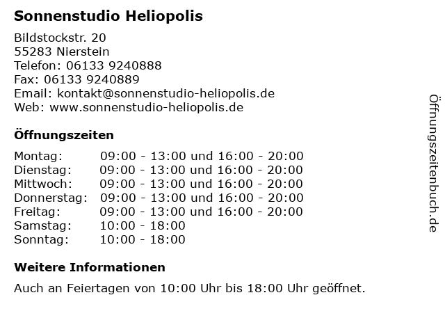 Sonnenstudio Heliopolis in Nierstein: Adresse und Öffnungszeiten