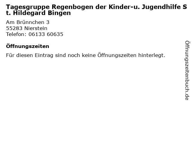 Tagesgruppe Regenbogen der Kinder-u. Jugendhilfe St. Hildegard Bingen in Nierstein: Adresse und Öffnungszeiten