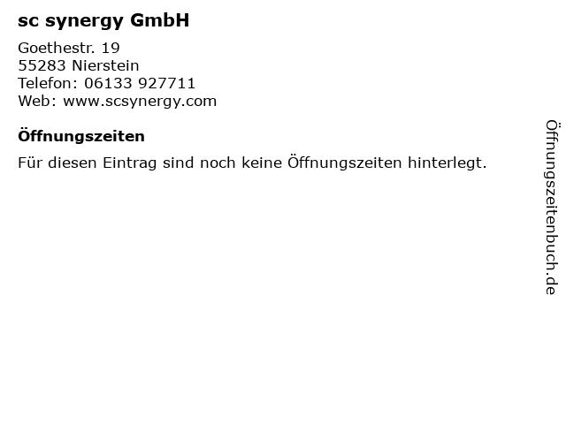 sc synergy GmbH in Nierstein: Adresse und Öffnungszeiten