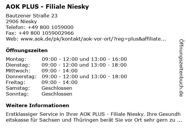 AOK PLUS - Filiale Niesky - bitte Termin vereinbaren in Niesky: Adresse und Öffnungszeiten