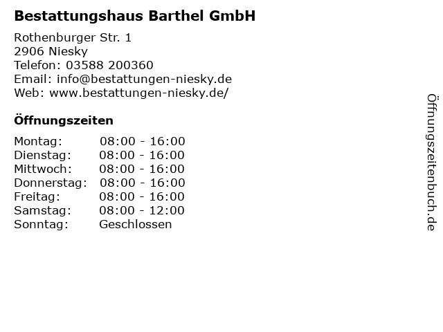 Bestattungshaus Barthel GmbH in Niesky: Adresse und Öffnungszeiten