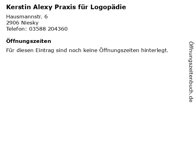 Kerstin Alexy Praxis für Logopädie in Niesky: Adresse und Öffnungszeiten