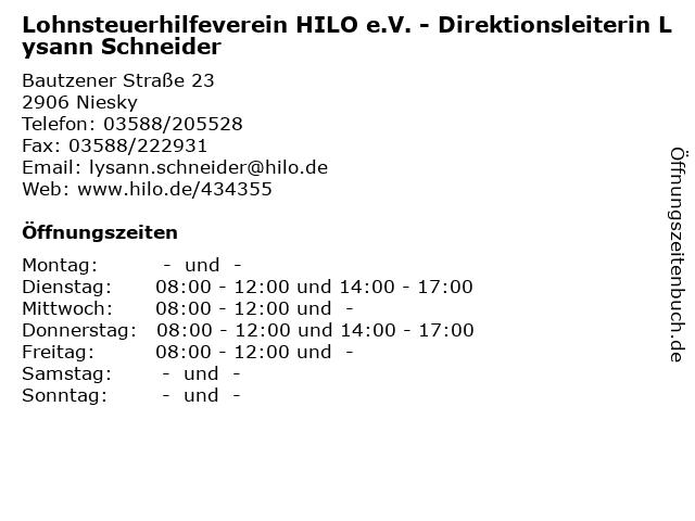 Lohnsteuerhilfeverein HILO e.V. - Direktionsleiterin Lysann Schneider in Niesky: Adresse und Öffnungszeiten