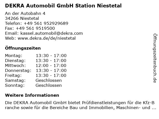 DEKRA Automobil GmbH Station Niestetal in Niestetal: Adresse und Öffnungszeiten