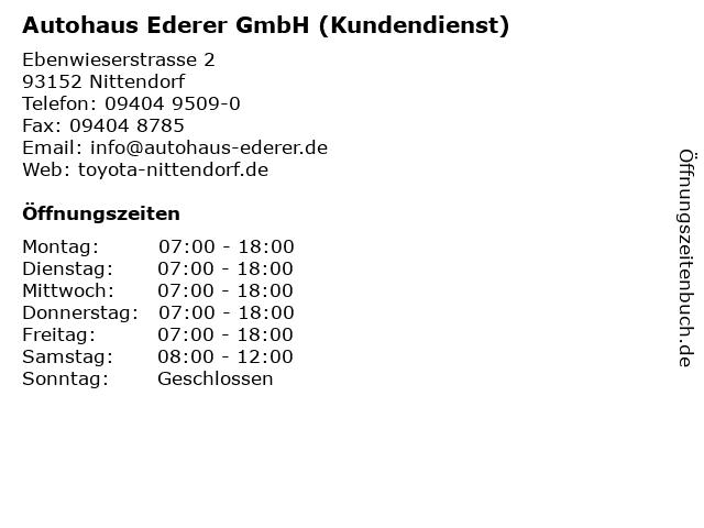 Autohaus Ederer GmbH (Kundendienst) in Nittendorf: Adresse und Öffnungszeiten
