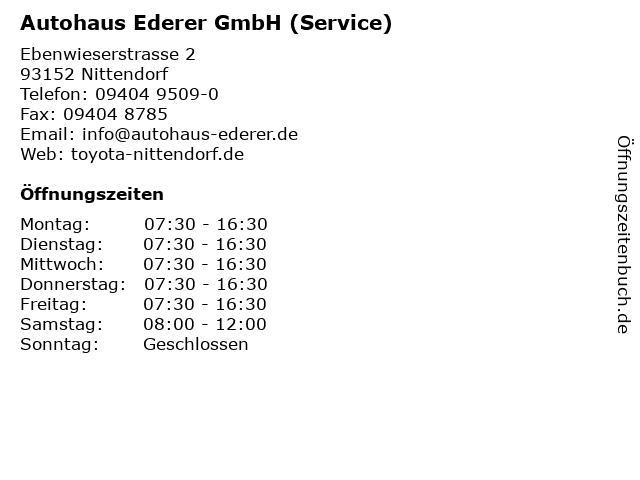 Autohaus Ederer GmbH (Service) in Nittendorf: Adresse und Öffnungszeiten