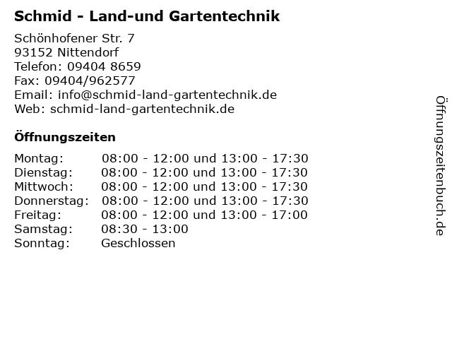 Schmid - Land-und Gartentechnik in Nittendorf: Adresse und Öffnungszeiten