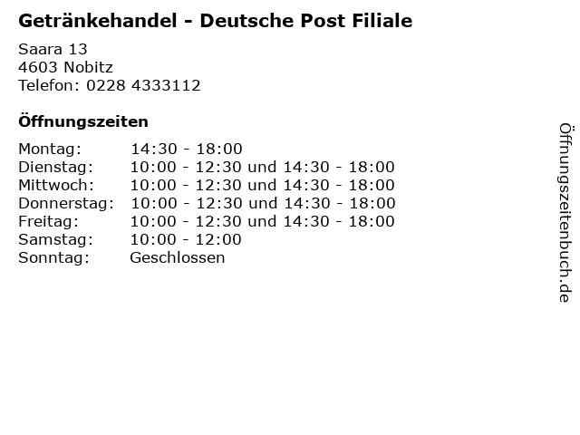Getränkehandel - Deutsche Post Filiale in Nobitz: Adresse und Öffnungszeiten