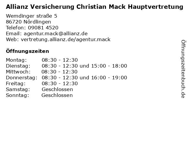 Allianz Versicherung Christian Mack Hauptvertretung in Nördlingen: Adresse und Öffnungszeiten