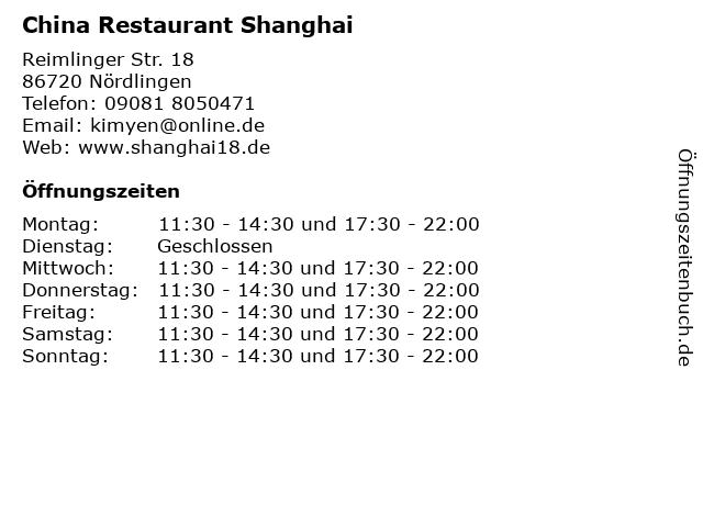 China Restaurant Shanghai in Nördlingen: Adresse und Öffnungszeiten