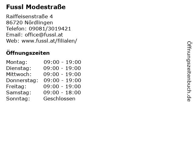 Fussl Modestraße in Nördlingen: Adresse und Öffnungszeiten