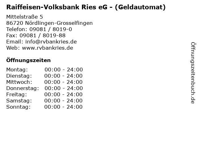 Raiffeisen-Volksbank Ries eG - (Geldautomat) in Nördlingen-Grosselfingen: Adresse und Öffnungszeiten