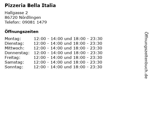 Pizzeria Bella Italia in Nördlingen: Adresse und Öffnungszeiten