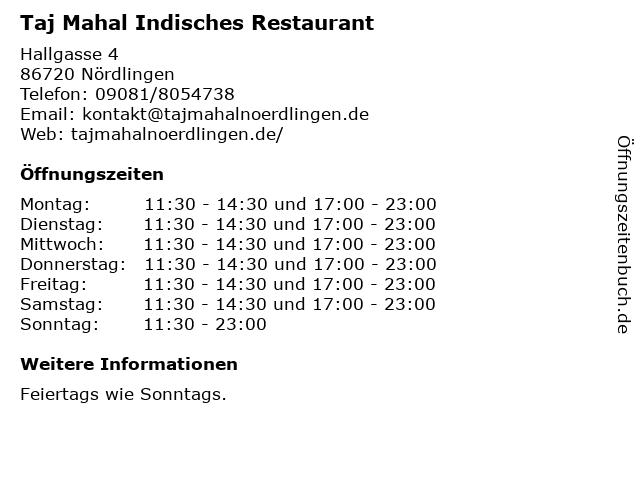 Taj Mahal Indisches Restaurant in Nördlingen: Adresse und Öffnungszeiten