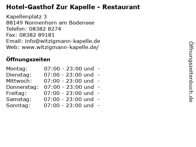 Hotel-Gasthof Zur Kapelle - Restaurant in Nonnenhorn am Bodensee: Adresse und Öffnungszeiten