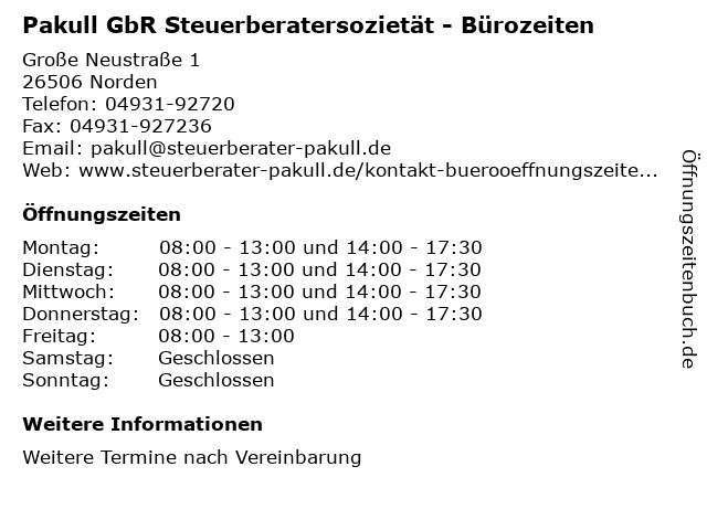 Pakull GbR Steuerberatersozietät - Bürozeiten in Norden: Adresse und Öffnungszeiten