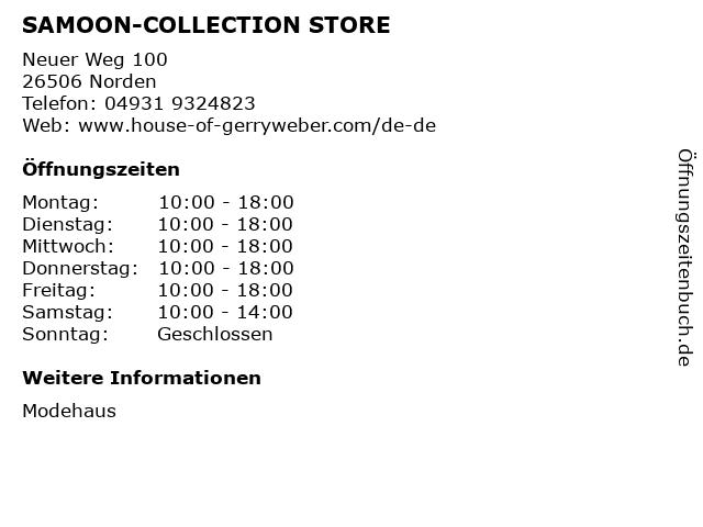 SAMOON-COLLECTION STORE in Norden: Adresse und Öffnungszeiten