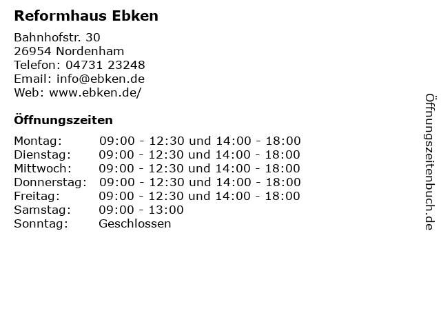Reformhaus Ebken in Nordenham: Adresse und Öffnungszeiten