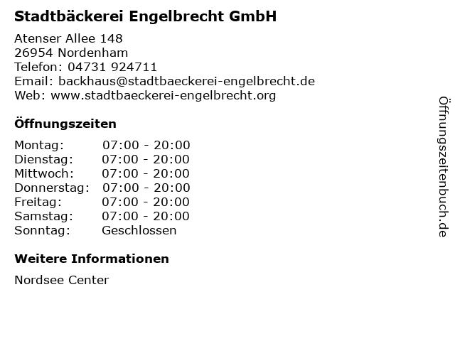 Stadtbäckerei Engelbrecht GmbH in Nordenham: Adresse und Öffnungszeiten