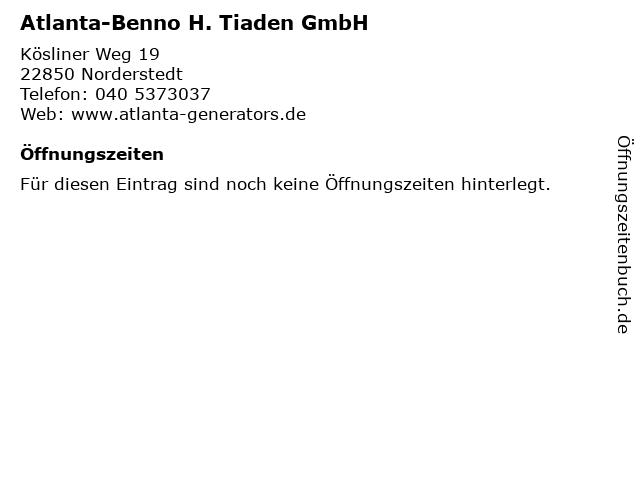 Atlanta-Benno H. Tiaden GmbH in Norderstedt: Adresse und Öffnungszeiten