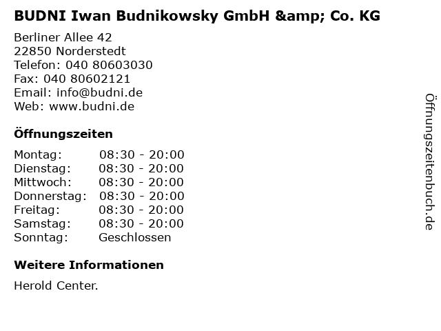 BUDNI Iwan Budnikowsky GmbH & Co. KG in Norderstedt: Adresse und Öffnungszeiten