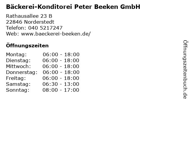 Bäckerei-Konditorei Peter Beeken GmbH in Norderstedt: Adresse und Öffnungszeiten