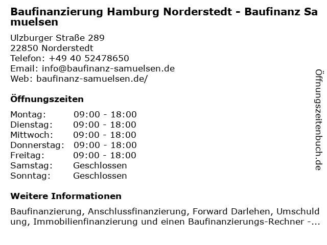 Baufinanzierung Hamburg Norderstedt - Baufinanz Samuelsen in Norderstedt: Adresse und Öffnungszeiten