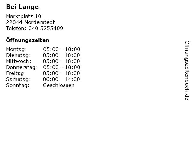 Bei Lange in Norderstedt: Adresse und Öffnungszeiten