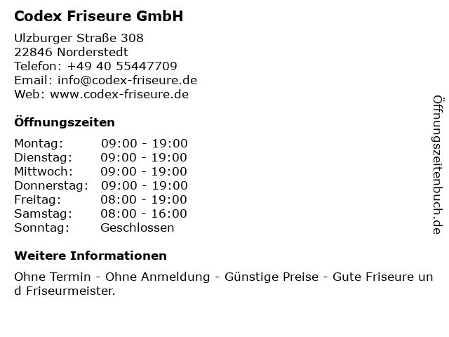 Codex Friseure GmbH in Norderstedt: Adresse und Öffnungszeiten