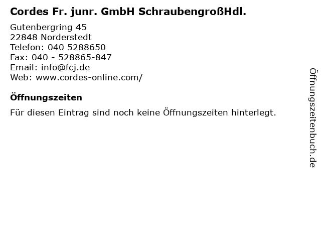 Cordes Fr. junr. GmbH SchraubengroßHdl. in Norderstedt: Adresse und Öffnungszeiten