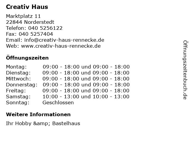 Creativ Haus in Norderstedt: Adresse und Öffnungszeiten