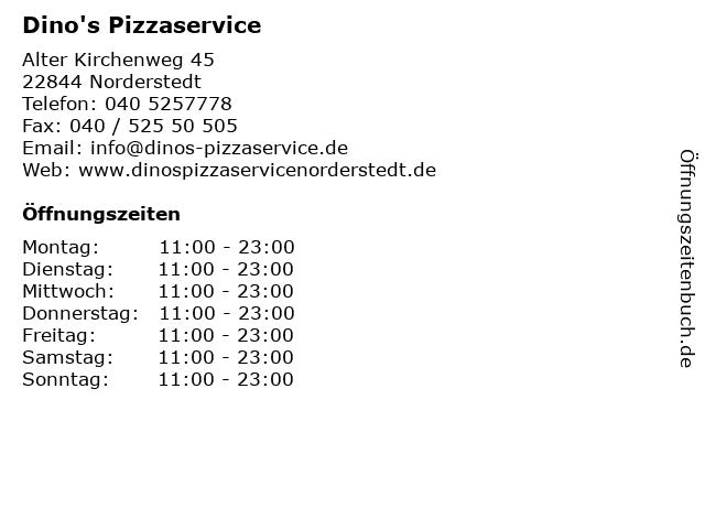 Dino's Pizzaservice in Norderstedt: Adresse und Öffnungszeiten