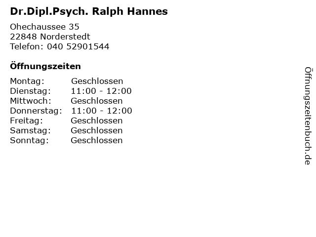 Dr.Dipl.Psych. Ralph Hannes in Norderstedt: Adresse und Öffnungszeiten