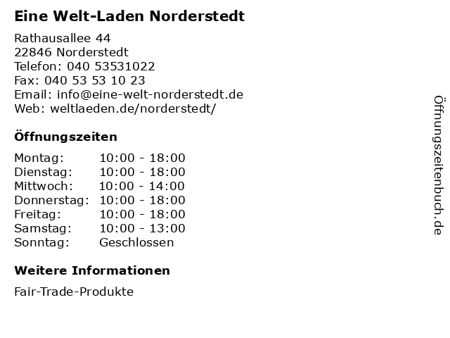 Eine Welt-Laden Norderstedt in Norderstedt: Adresse und Öffnungszeiten